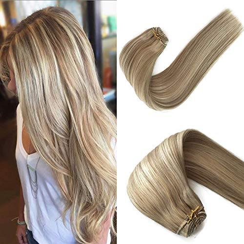 Sew in Hair Extensions Human Hair Natural Sew in Weft Hair Weave Bundles Real Remy Hair Extensions Bundles Beige Blonde with Platinum Blonde Highlights Silky Straight Double Weft Full Head 120g 24in