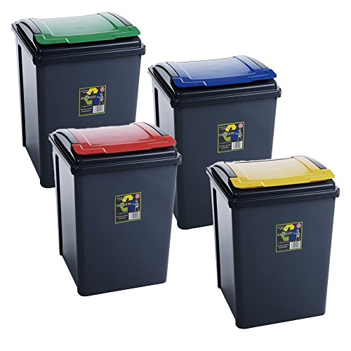 4x/50 Litre Plastic Waste Recycle Bin one each High Quality with Flap Lid...
