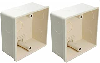 LEDENET 2pcs 86x86x40mm Recessed Electrical/Outlet Mounting Box White PVC Flush Type Wall Mounted Single Gang Junction Box...