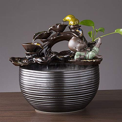 NYKK Meditation Fountain 16.1in Buddha Tabletop Water Fountain for Home&Office Decoration, Decorative Sculpture with Circular Water Flow for Good Luck Keeping (Dark Brown) Zen Tabletop Water Fountain