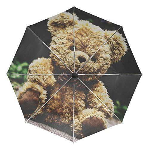 FAJRO Reise-Regenschirm mit Teddybär-Motiv, Winddicht, automatisch, Regenschirme für Regen und Outdoor/Damen/Herren