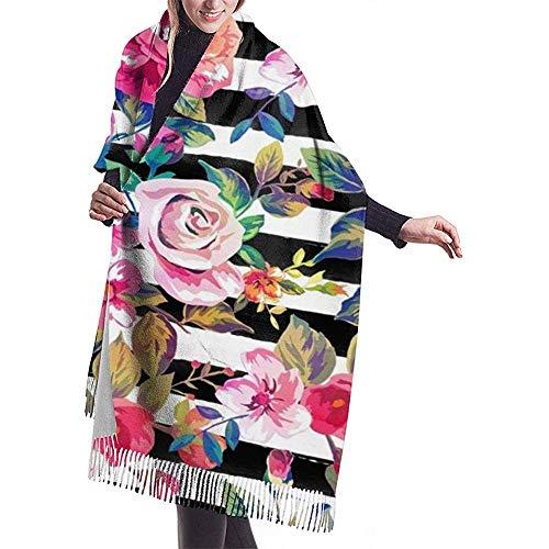 Elaine-Shop Damenschal Niedlicher Frühlings-Blumen- und Streifen-Aquarell-Muster-klassischer Quasten-Plaid-Schal-Herbst und Winter-warmer Schal