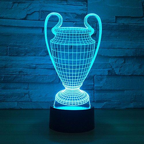 Voetbal Beker Trofee 3D Nacht Licht, Decoratieve LED Nachtkastje Tafellamp voor Kids Kamer Kerstmis Verjaardagscadeaus voor Children's Slaapkamer Woonkamer Decoratie
