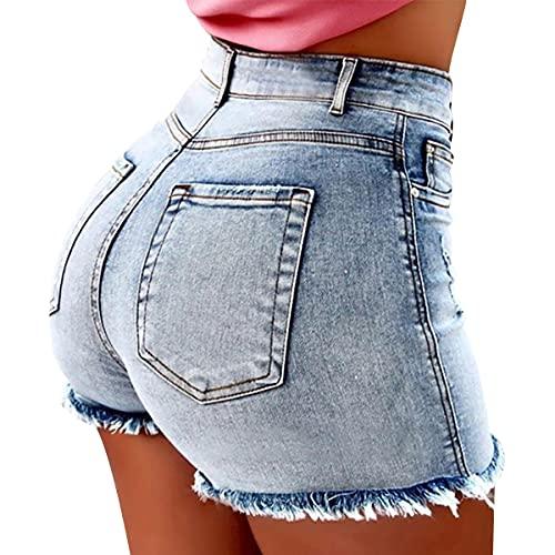 Shorts Cuñas Mujer Verano 2048 Pantalon Corto Niña Pantalones Cortos Largos Mujeres Pantalones Cortos De Algodón Mujeres Pantalones Cortos De Gimnasio Mujeres con Bolsillo Azul Claro L
