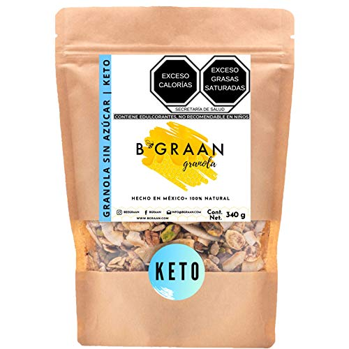 Granola Sin Azúcar Keto BGraan 340 gr | Granola Artesanal, Con Monkfruit, Pistache, Almendra, Nuez, SuperFoods, Sin Gluten, Low Carbs