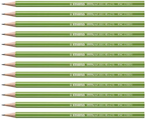 Lápiz de grafito ecológico STABILO GREENgraph - Caja con 12 unidades