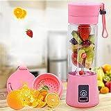 MGWA Electrodomésticos de la Cocina Fruta Juicer 380ml Mini Fruit Fruit Fruicer Copa USB Smoothie Maker Blender Shaker Bottle -with 4 Colores juicer (Color : Pink)