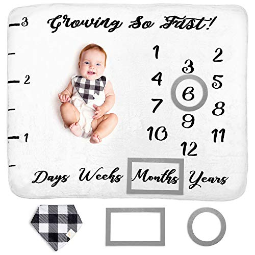 Baby Monthly Milestone Blanket for Boy Girl Unisex   Neutral Personalized Photography Background Blankets   Thick Fleece for Mom Newborn Baby Shower Gifts + Bandana Drool Bib + 2 Months Frame Markers