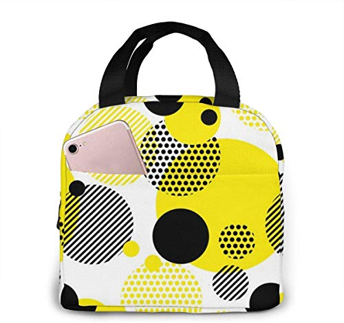 TTmom Seamless Dots Modern Pattern. White Geometry Circle Color Hawaiian Surfer Portable Insulated Lunch Bag Tote Waterproof Meal Prep Box with Zipper for Office School Women Men Pi