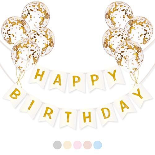 Banderole Joyeux Anniversaire avec Ballons Confettis | Guirlande Happy Birthday | Décoration Anniversaire Fille et Femme | Kit de Bannière d'Anniversaire Blanc et Or, Ballons Or et Ruban Bolduc