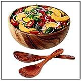 """WOOD SALAD BOWL - Acacia Wooden Salad Serving Bowl with Wood Salad Servers, Wooden Salad Spoon & Serving Fork Set, Large Wooden Dinnerware Fruit Bowl for Snacks, Popcorn, BBQ & Deserts, 10"""""""