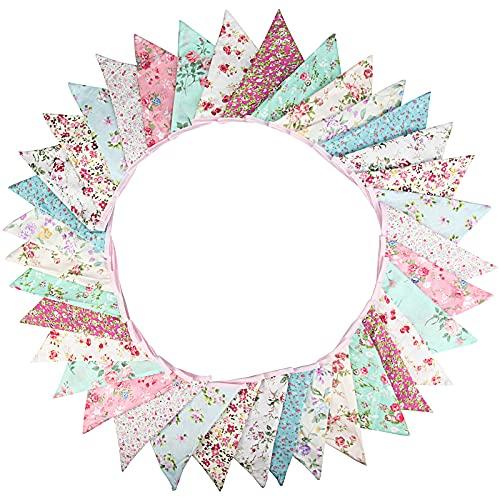 G2PLUS Süße Beidseitig Wimpel Girlande, 10M Bunting Wimpelkette Blau und Rosa Stoff Stoffgirlande mit 36 STK Farbenfroh Wimpeln für Hochzeits Geburtstag Party