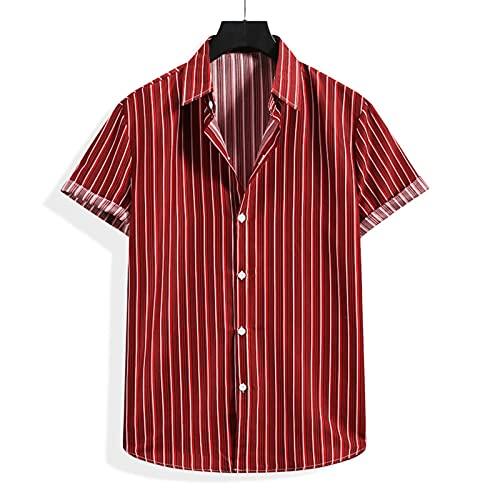 SSBZYES Camisas para Hombre Camisas De Verano De Manga Corta Camisas De Flores Tops para Hombres Camisetas Camisas De Flores Camisas De Playa a Rayas Camisas De Solapa De Manga Corta