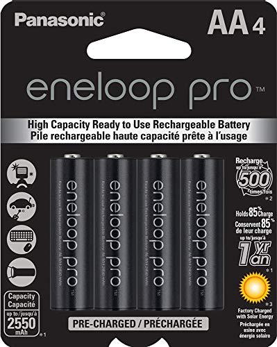 Panasonic BK3HCCA4BA eneloop pro AA High Capacity NiMH PreCharged Rechargeable Batteries 4 Pack Black