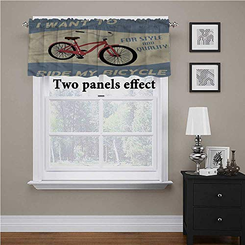 Adorise Window Curtains 1960s, I Want to Ride My Bicycle Printed Window Valance Perfect for Your Toy Room, 42 x 18 Inch
