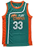 Flint Tropics Jackie Moon #33 Coffee Black #7 Semi Pro 90s Hip Hop Clothes for Party Men Basketball Jersey Green White (33 Green, Small)