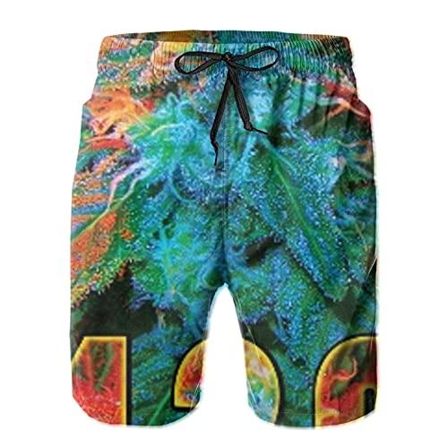 HARLEY BURTON Pantalones cortos de natación para hombre, marihuana 420, hoja de cannabis, secado rápido, pantalones cortos de tabla de surf y playa con cordón ajustable