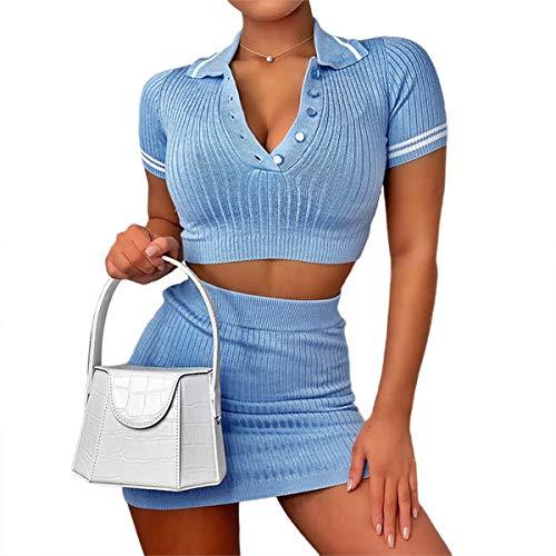 Loalirando Completo Estivo Sexy Donna Ragazza Slim Aderente Vestito Sportivo Abito Estivo Donna a Manica Corta Crop Top+Gonna (Blue Set, S)