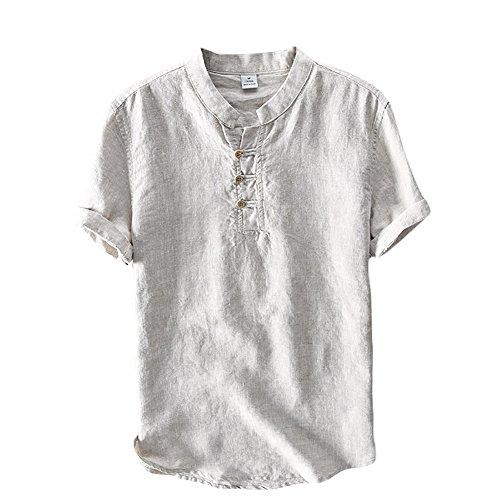 Icegrey Herren Kurzarm Leinen Hemd Henley Kurzarm Hemd T-Shirt Freizeit Hemden Sommer Hemd Grau 52