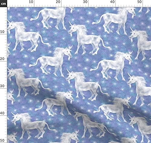 Pferd, Einhorn, Fee, Pony, Mythisch, July2016Unicornsmermaid Stoffe - Individuell Bedruckt von Spoonflower - Design von Eclectic House Gedruckt auf Samt