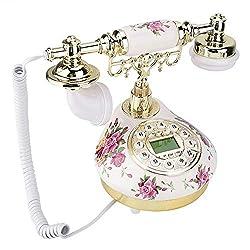 Bindpo Retro Telephone,Vintage Classical Desktop Telephone Landline with FSK/DTMF Caller ID,Imitation Antique Ceramic Decorative Phone,for Gifts/Home/Hotel, Quick Check/Callback/Clock Function