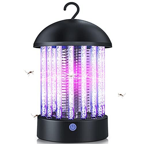 Karvipark Elektrischer Insektenvernichter, UV Insektenfalle LED Mosquito Killer USB Wiederaufladbare Camping-Insekten Insektenkiller für Schlafzimmer Garten Camping (Schwarz)