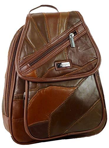 Stefano Damen Rucksack Handtasche Leder Patch Design 23/30/10cm (Cognac)