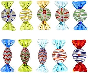 TOYANDONA 10 Piezas Estilo Murano Vintage Varios Dulces de Vidrio Adornos de Dulces de Vidrio en Casa Mesa de Banquete de Boda Confeti de Dispersión (Estilo Mixto)