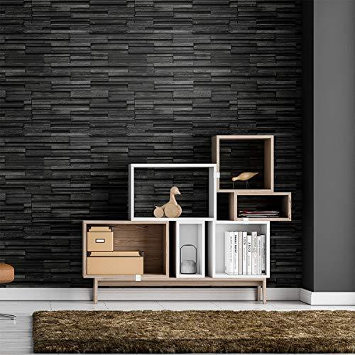1 sticker antraciet | muurstickers zelfklevend | stenenzetting badkamer keuken woonkamer | sticker zelfklevend behang - 60 x 60 cm - 1 stuk