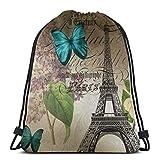 Sanme Mochila con cordón Antiguo París Torre Eiffel Mariposa Azul Lila Mochila con cordón Impermeable Mochila de Senderismo para Adultos Mochila Deportiva Bolsa de Almacenamiento