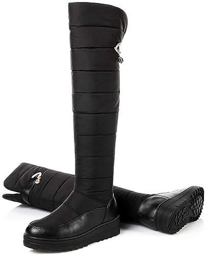 ZHRUI Chaussures d'hiver Bottes de Neige Basses en Coton Coton avec Bottes en Coton compensées, Plateforme, sur Le Genou (Couleuré   Noir, Taille   42)  voici la dernière