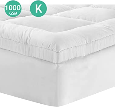 Mattress Topper King Size Memory Resistant 1000Gsm Micorfiber Filling Pillowtop Protector Bed Pad Cover Home Bedding