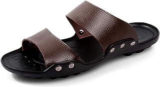 Men Sandals Sandals for Men Fashion Slipper Shoes OX Leather Rivet Reinforcement Two Styles Comfortable (Color : Slipper B...