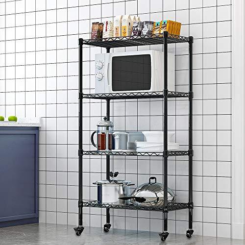 Regal mit Rollen und 4 Regalböden Drahtregale Regal für küche stabil Lagerregal Standregal Metallregal bis zu 30 kg pro Regalboden - Schwarz