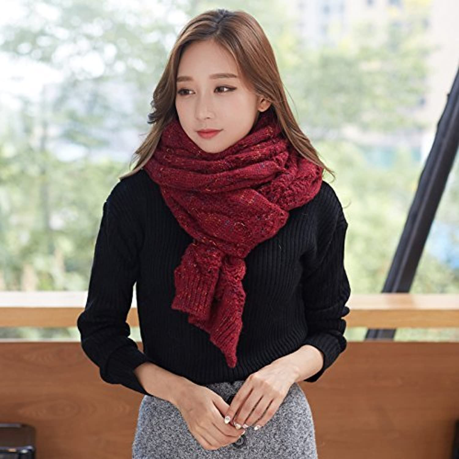 SED ScarfFemale Students AllMatch Thick Knitted Scarves in Winter Imitation Cashmere Scarf Female Autumn and Winter Korean Students Knitted Shawl Long