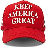 Hyrevue High End Retail Official Donald Trump Hat Keep America Great MAGA Cap 2020 American Flag Pin USA Red, Unisex