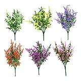 Clyhon Flores artificiales falsas 6 paquetes de 6 colores al aire libre Resistente a los rayos UV Arbustos Verdes Plantas Interior Exterior Jardinera colgante Decoración del jardín del hogar