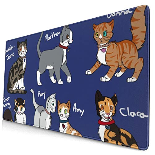 Doctor Who Cats Design Pattern XXL XL Large Gaming Mouse Pad Mat Long Extended Mousepad Desk Pad Non-Slip Rubber Mice Pads Stitched Edges (29.5x15.7x0.12 Inch)