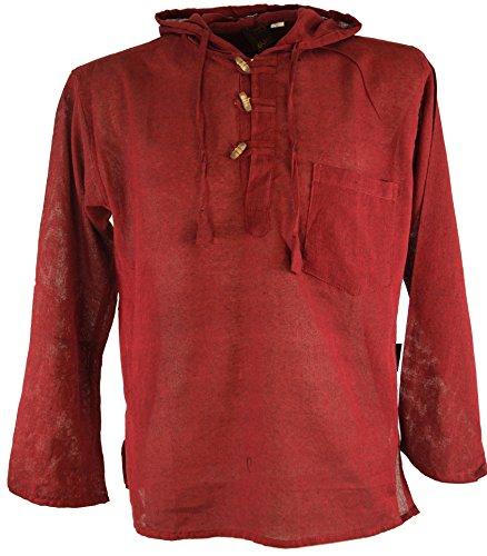 Guru-Shop Nepal Hemd, Goa Hippie Sweatshirt, Yogashirt, Herren, Bordeaux, Baumwolle, Size:XL, Hemden Alternative Bekleidung