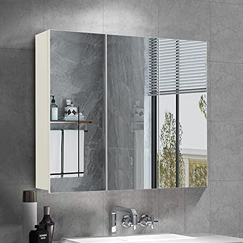 OFCASA 3 dörrar badrum spegelskåp väggmonterad badrumsförvaring skåp med spegel justerbara hyllor väggskåp för badrum duschrum 70 x 60 x 15 cm