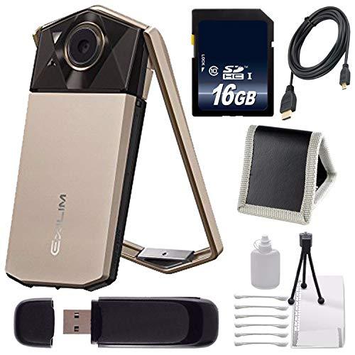 Casio Exilim EX-TR70 Selfie Digital Camera (Gold) (International Version) + 16GB Memory Card Bundle