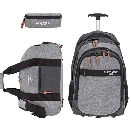 3 Teile Set: Trolley Elephant Hero Signature Schultrolley Trolly Sporttasche Mäppchen (Two Tone Grey (grau/anthrazit))