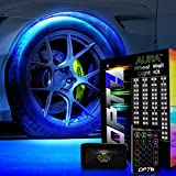 OPT7 Aura Wheel Well RGB LED Kit w/Wireless Remote, Multicolor Tire Rim Lights for Cars | 3-Into-1 16+ Smart-Color Waterproof Strips w/SoundSync (Double Row)