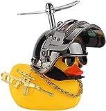 AOMOSA Gelbe Ente Fahrradklingel,gelbe Entefahrrad glocke3 Propeller Kampf Helm,Geeignet für, Fahrräder, Elektrofahrräder, Motorräder, PKWs