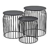 [en.casa] Set de 3X Cestas de Metal Mesa Baja Mesa Auxiliar para Almacenar Mesas de té y café Mesas de Centro Negro