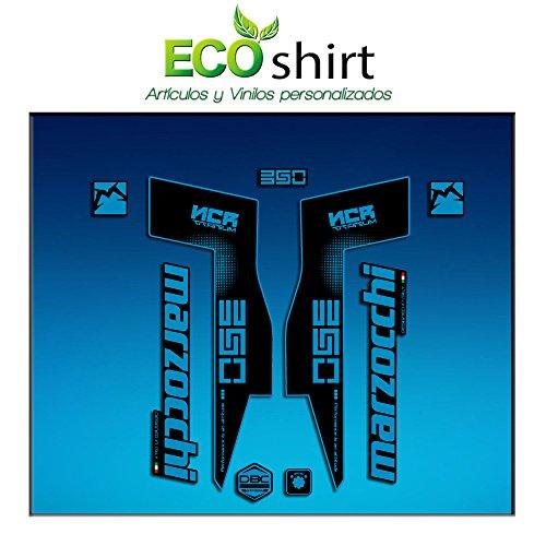 Ecoshirt CU-ZNF4-YS1R Autocollants Fork Marzocchi 350 NCR Titanium Am72 Autocollants Fourche Gabel Fourche Fourche Bleu