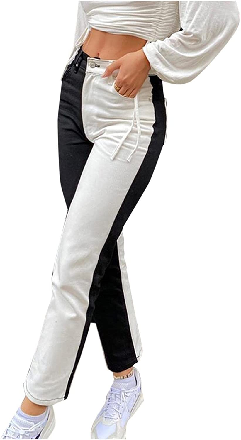 Aiouios Y2K Fashion Jeans for Women High Waisted Contrast ColorJeans Stretch Casual Patchwork Denim Pants Streetwear
