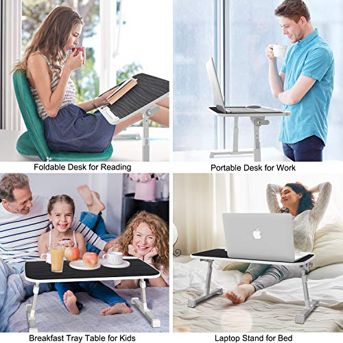 AboveTEK Laptoptisch Klappbar für Bett, Höhenverstellbar Laptopständer Frühstückstisch, Notebooktisch mit 60 x 33 x (24-33) cm, Tragbarer Lap Desk für Sofa, Couch, Büro, Picknick