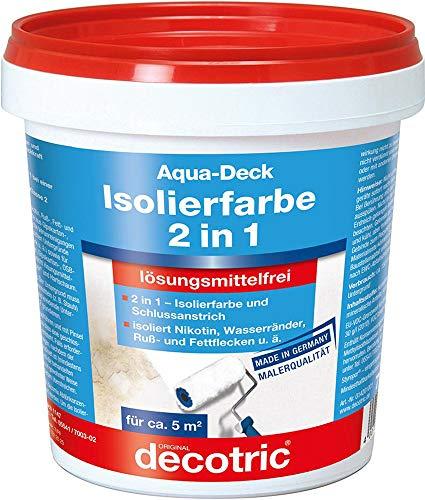Decotric 014201001 Aqua Deck Wandfarbe Isolierfarbe 2in1 gegen Nikotin, Ruß, Fett-Flecken, Wasserränder, weiß, 750ml