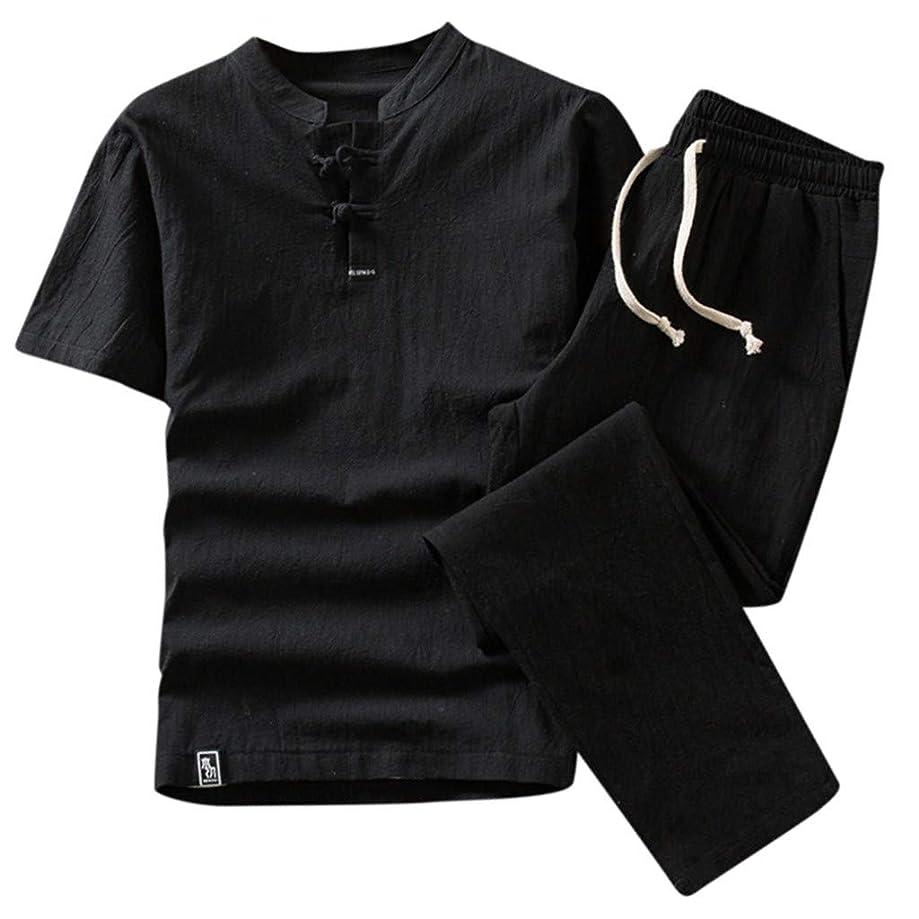 TUSANG Men Suits Summer Fashion Men's Cotton and Linen Short Sleeve Shorts Set Suit Tracksuit Slim Fit Comfy Suit